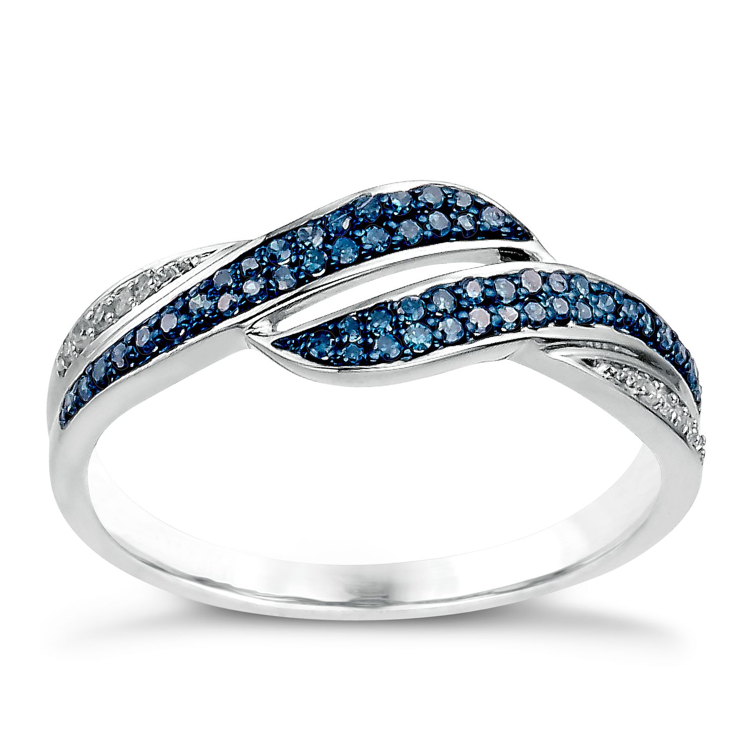 Sterling silver 19 point white & treated blue diamond ring