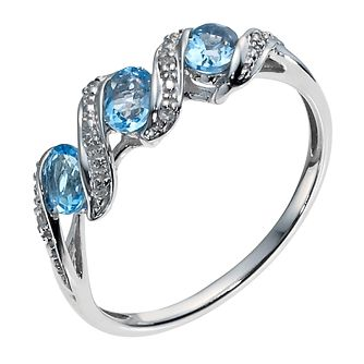 9ct white gold diamond & blue topaz 3 stone wave ring - Product number 1328271