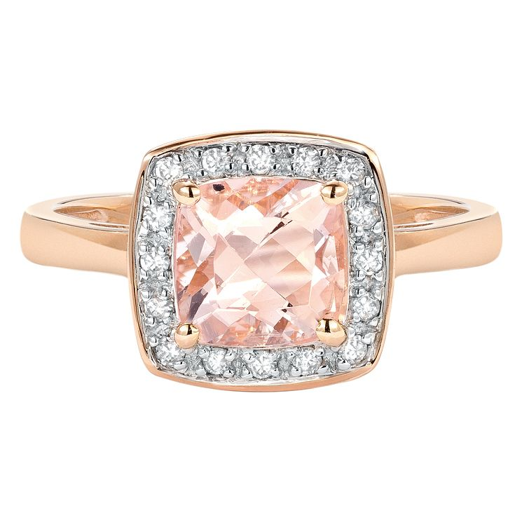 9ct rose gold 12 point diamond & morganite ring - Product number 1328565