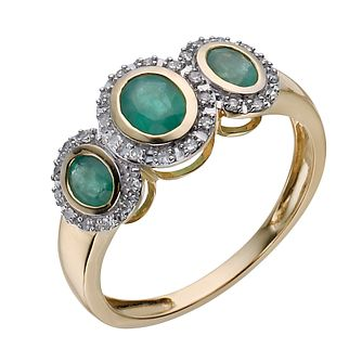 9ct yellow gold oval emerald & diamond three stone ring - Product number 1330411
