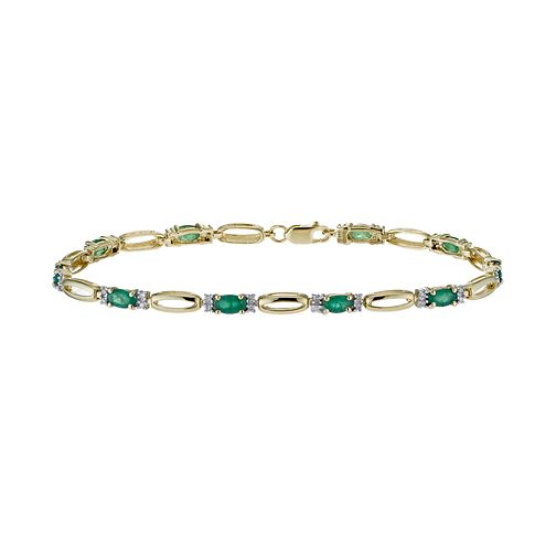 9ct yellow gold 20 point diamond & emerald bracelet - Product number 1331906