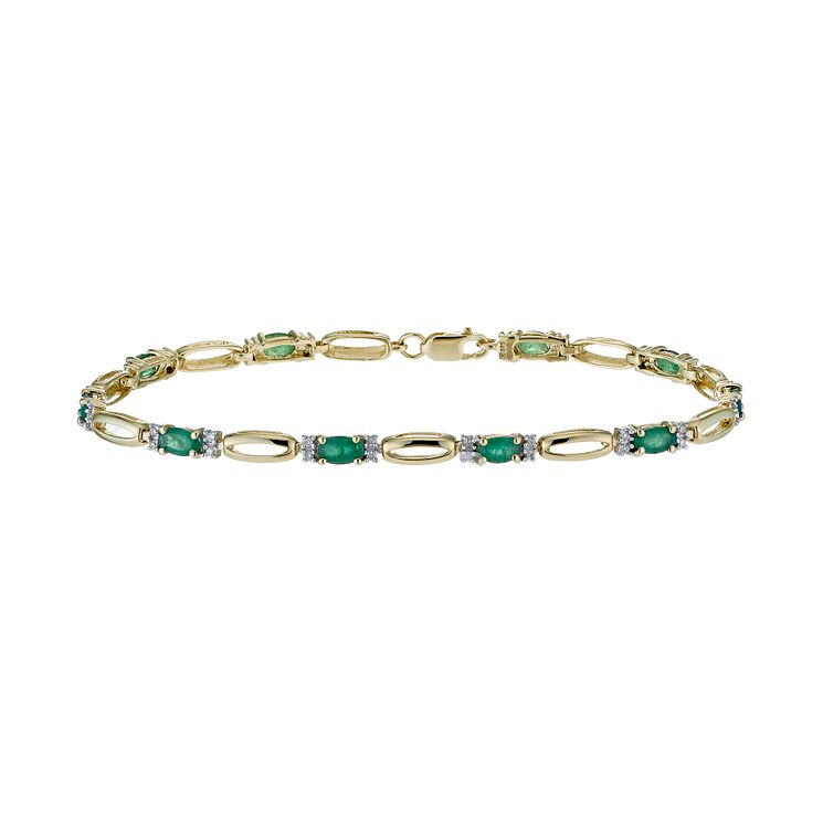 9ct yellow gold 20 point diamond and emerald bracelet