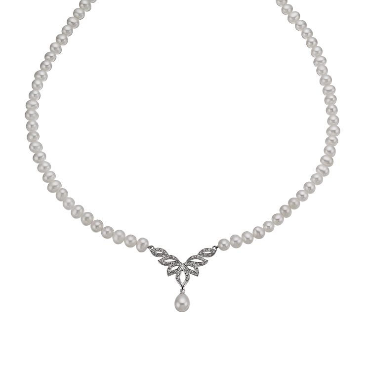 Sterling Silver Cultured Freshwater Pearl V Shape Necklace - Product number 1332287