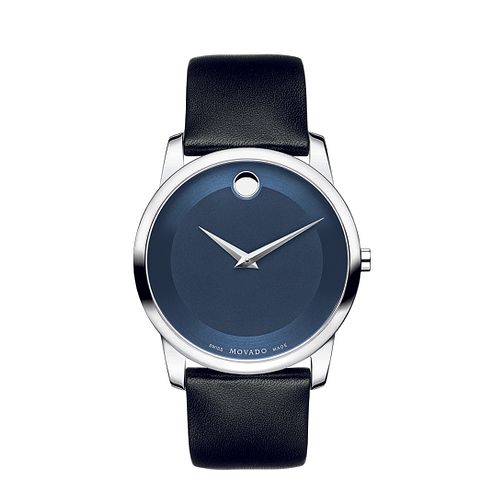 Movado Museum men's blue dial black leather strap watch - Product number 1334166