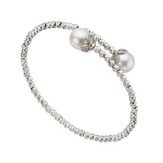 Silver cultured freshwater pearl bead bangle - Product number 1342339