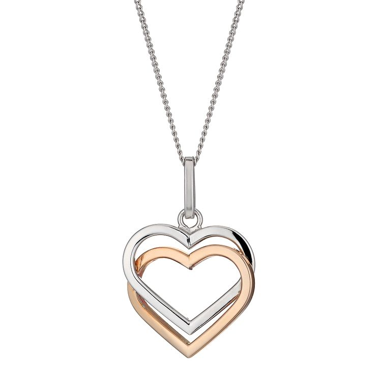 Necklaces chains pendants ernest jones silver 9ct rose gold double heart pendant product number 1342630 mozeypictures Images
