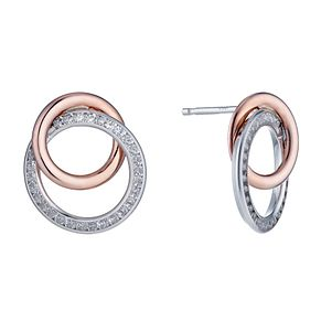 Silver & 9ct rose gold cubic zirconia circle stud earrings - Product number 1342657