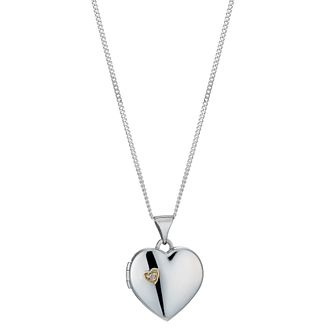 Silver & 9ct yellow gold diamond heart locket - Product number 1343467