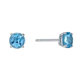 9ct white gold blue topaz stud earrings - Product number 1343599