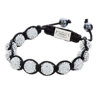 Shimla White Crystal Bead Black Rope Bracelet - Product number 1345877
