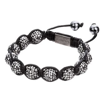 Shimla White Crystal Bead Black Rope Bracelet - Product number 1345885