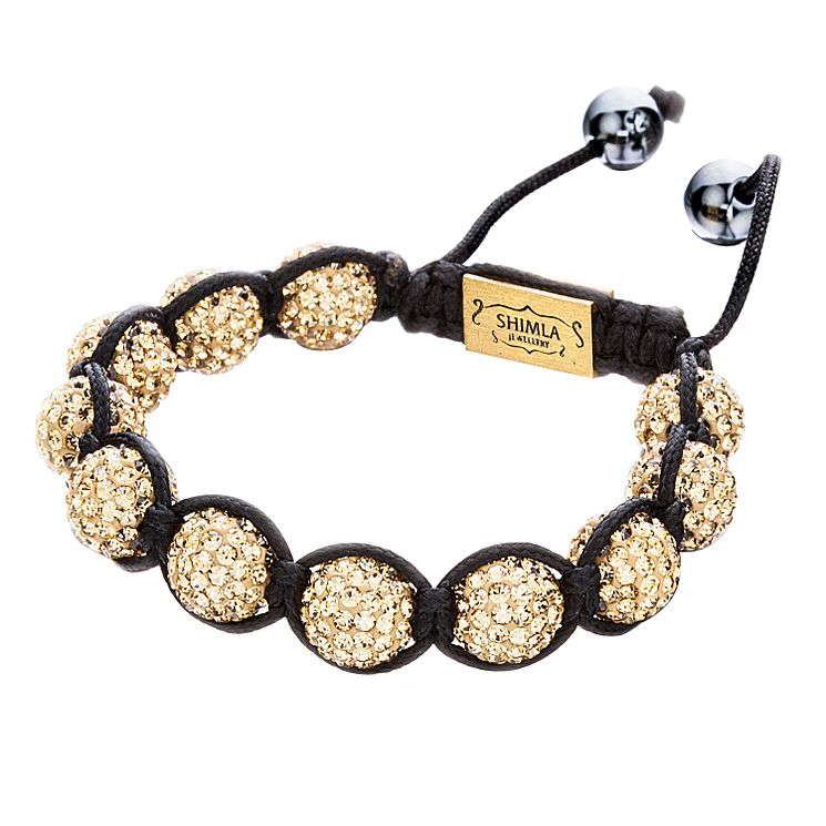 Shimla Gold Crystal Bead Black Rope Bracelet - Product number 1345923