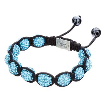 Shimla Aqua Blue Crystal Bead Black Rope Bracelet - Product number 1346016