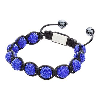 Shimla Sapphire Blue Crystal Bead Black Rope Bracelet - Product number 1346059