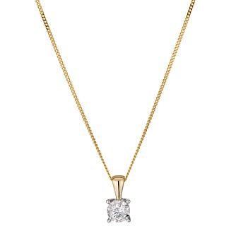 9ct yellow gold 15 point diamond solitaire pendant - Product number 1353594