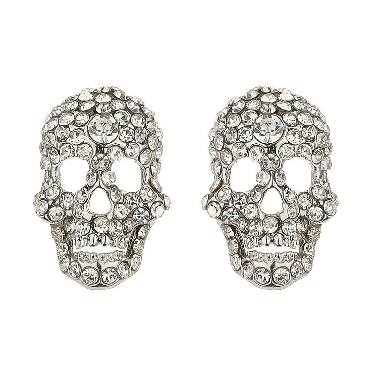 Mikey White Crystal Skull Stud Earrings - Product number 1355007