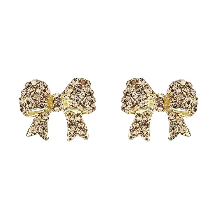 Mikey Gold Crystal Bow Stud Earrings - Product number 1356003