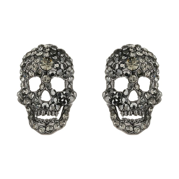Mikey Black Crystal Skull Stud Earrings - Product number 1356518