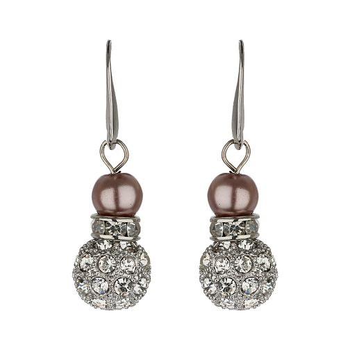 Mikey Taupe Imitation Pearl & Crystal Drop Earrings - Product number 1356615