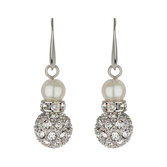 Mikey White Imitation Pearl & Crystal Drop Earrings - Product number 1356623
