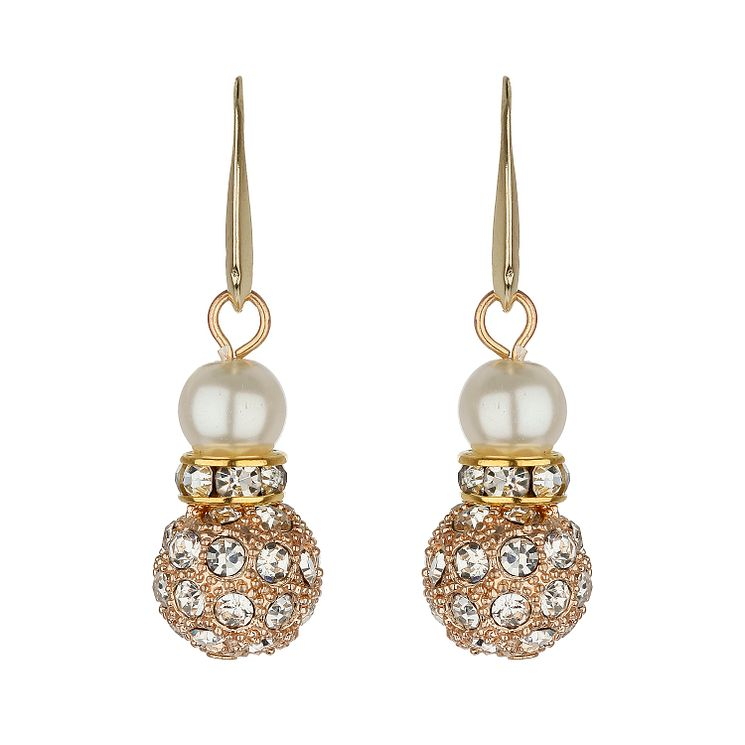 Mikey Gold Tone Imitation Pearl & Crystal Drop Earrings - Product number 1356631