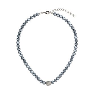Mikey Hematite Imitation Pearl & Crystal Ball Necklace - Product number 1356666