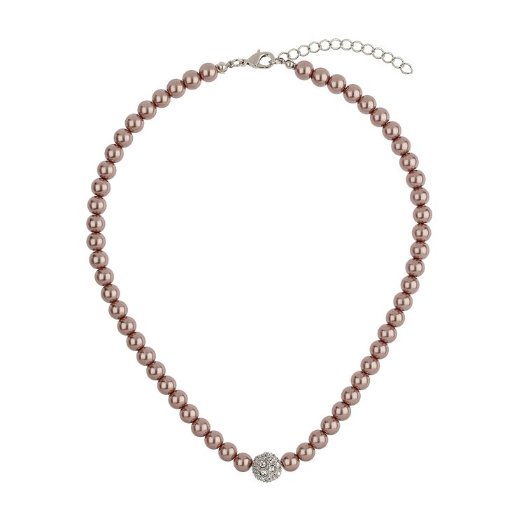 Mikey Taupe Imitation Pearl & Crystal Ball Necklace - Product number 1356674