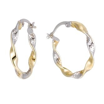 Together Silver & 9ct Bonded Gold Twisted Creole Earrings - Product number 1357506