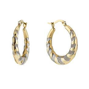Together Bonded Silver & 9ct Gold Two Colour Creole Earrings - Product number 1357549