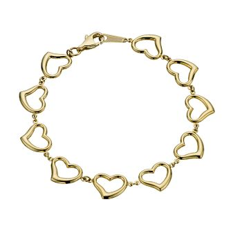 "Together Bonded Silver & 9ct Gold 7"" Heart Link Bracelet - Product number 1357719"