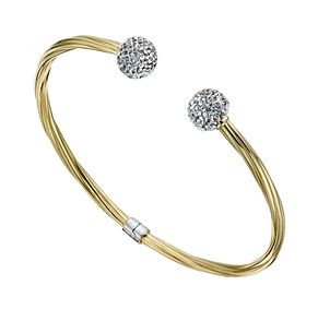 Together Silver & 9ct Bonded Gold Crystal Torque Bangle - Product number 1357727