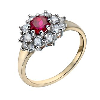 Silver & 9ct Gold Created Ruby & Cubic Zirconia Ring - Product number 1358022