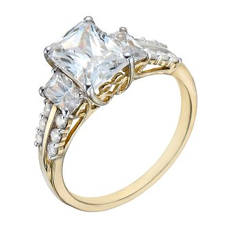 9ct Gold Three Stone Cubic Zirconia & Shoulder Set Ring - Product number 1358170