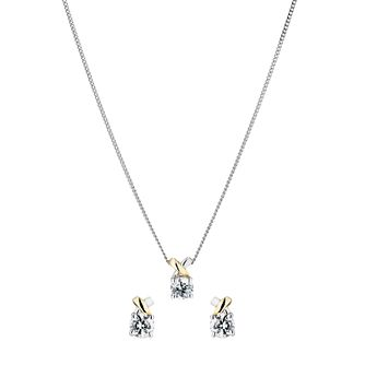 Silver & 9ct Gold Cubic Zirconia Kiss Pendant & Earrings - Product number 1359401
