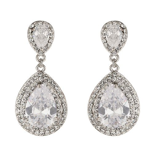 Mikey White Crystal Pear Drop Earrings - Product number 1359584