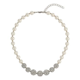 Mikey White Imitation Pearl & Crystal Ball Necklace - Product number 1359908