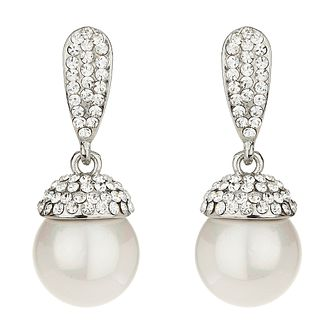 Mikey White Crystal Imitation Pearl Drop Earrings - Product number 1360027