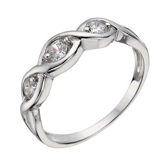 Sterling Silver Three Stone Cubic Zirconia Crossover Ring L - Product number 1362046