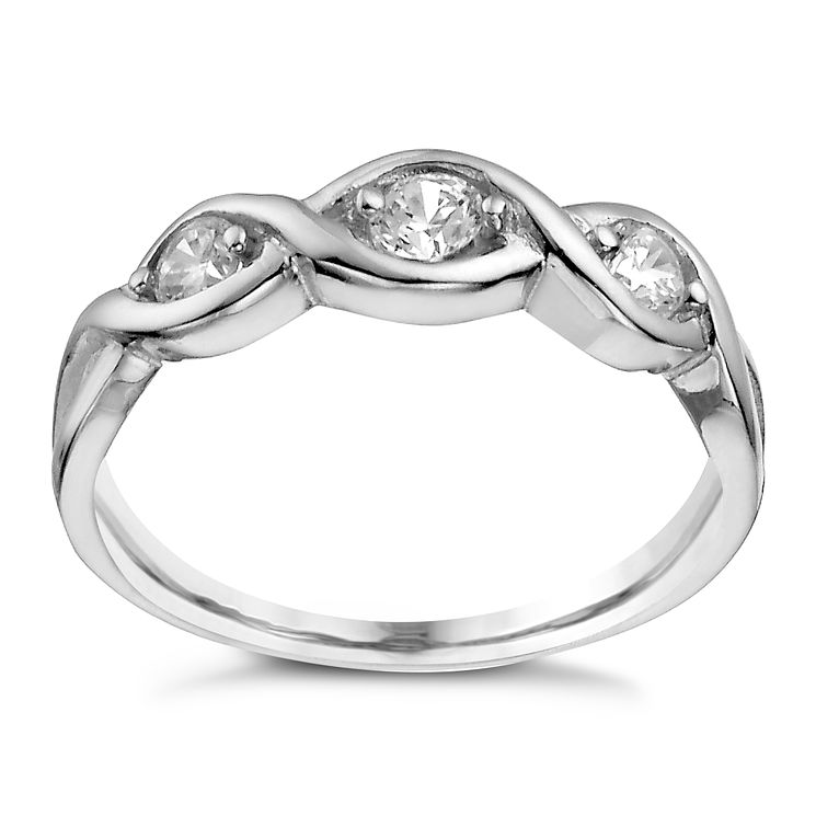 Sterling Silver Three Stone Cubic Zirconia Crossover Ring N - Product number 1362054