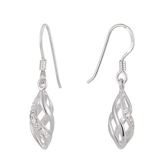 Silver Cubic Zirconia Cage Drop Earrings - Product number 1362194