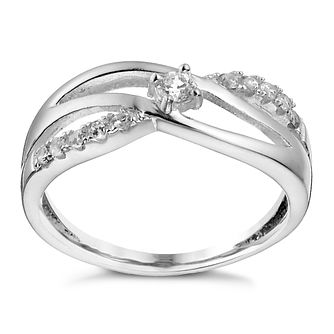 Sterling Silver Cubic Zirconia Crossover Ring - Size P - Product number 1362259