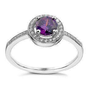 Sterling Silver Purple Cubic Zirconia Halo Ring Size P - Product number 1362542