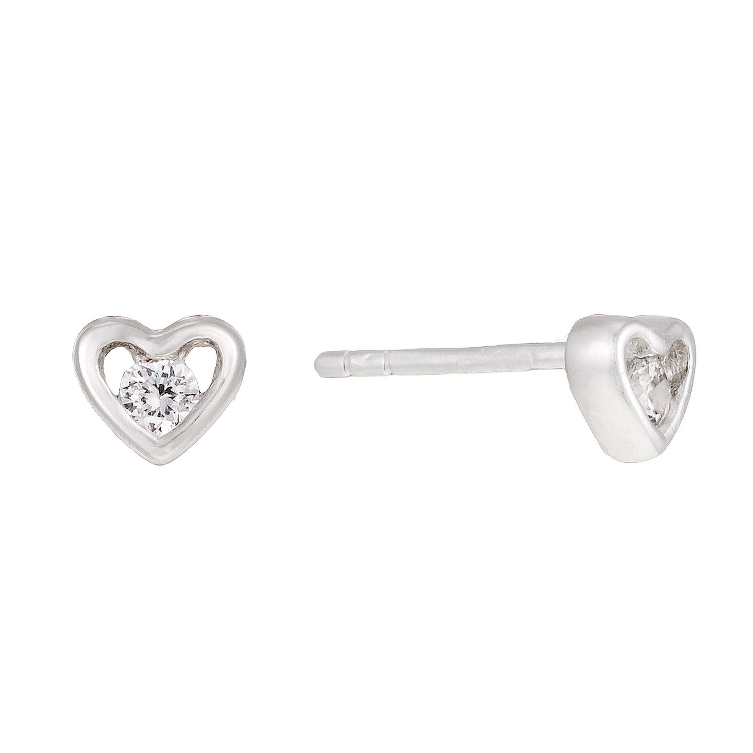open image double stud earrings silver heart