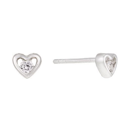 Silver Small Cubic Zirconia Heart Stud Earrings - Product number 1362550