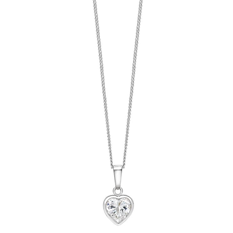 Sterling Silver Cubic Zirconia Heart Pendant - Product number 1362623