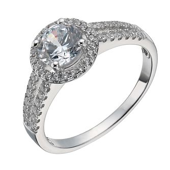 Sterling Silver Cubic Zirconia Halo Ring Size P - Product number 1363964