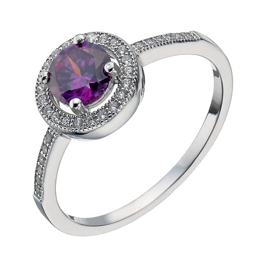 Sterling Silver Purple Cubic Zirconia Halo Ring Size L - Product number 1364014