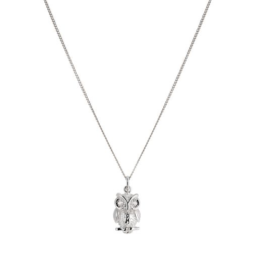 Sterling Silver Cubic Zirconia Owl Pendant - Product number 1364561