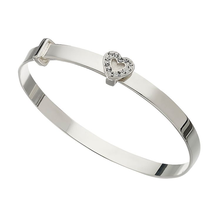 Children's Sterling Silver & Crystal Heart Expander Bangle - Product number 1364626