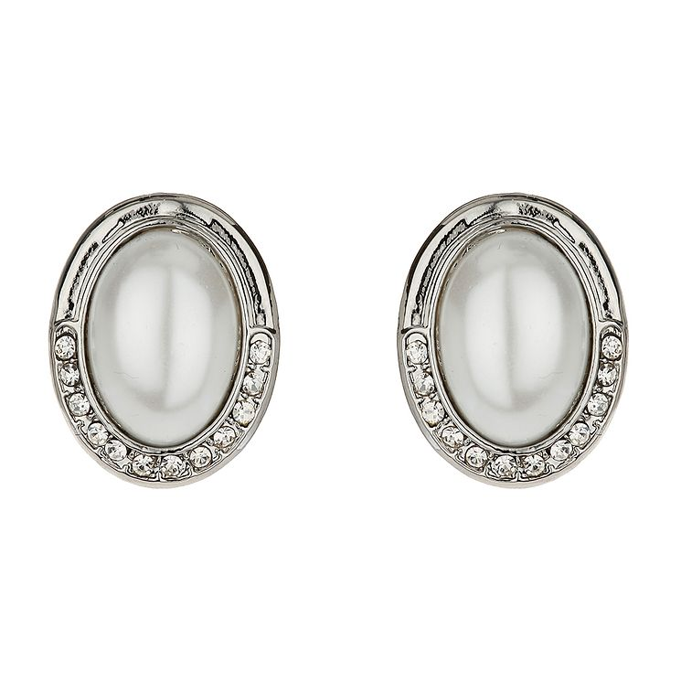 Mikey White Imitation Pearl & Crystal Clip On Stud Earrings - Product number 1364685